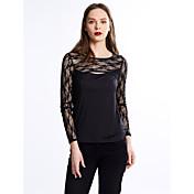 女性 お出かけ プラスサイズ 夏 Tシャツ,セクシー ラウンドネック ソリッド ブラック その他 長袖 薄手