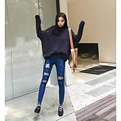 Mujer Chic de Calle Tiro Alto strenchy Chinos Pantalones,Pitillo Un Color