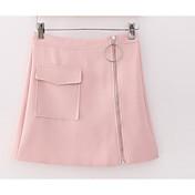 Mujer Tiro Alto Sobre la Rodilla Faldas,Línea A Un Color
