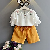 Dívčí Bavlna Polyester Jednobarevné Patchwork Léto Soupravy,Krátký rukáv Sady oblečení