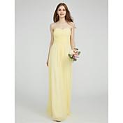 Funda / Columna Escote Corazón Hasta el Suelo Raso Vestido de Dama de Honor con Recogido En Cruz por LAN TING BRIDE®