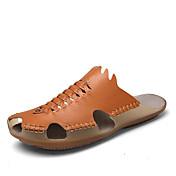 Masculino Chinelos e flip-flops Conforto Pele Napa Verão Caminhada Conforto Rasteiro Branco Preto Marron Menos de 2,5cm