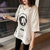 レディース カジュアル/普段着 Tシャツ,活発的 ラウンドネック プリント コットン 半袖