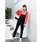Mujer Sencillo Tiro Medio Microelástico Vaqueros Chinos Pantalones,Corte Ancho Un Color