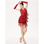 Debemos trajes latinos de la danza mujeres funcionamiento 3 guantes del vestido de los pedazos