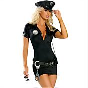 コスプレ衣装 パーティーコスチューム 警官 イベント/ホリデー ハロウィーンコスチューム ブラック ゼブラプリント ドレス ベルト ハット 多くのアクセサリー ハロウィーン カーニバル 新年 女性用