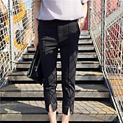 Mujer Sencillo Tiro Medio Microelástico Empresa Pantalones,Corte Ancho Un Color