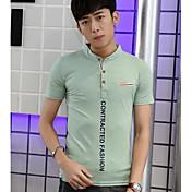 Hombre Chic de Calle Noche Camiseta,Escote Redondo Un Color Manga Corta Algodón