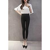 Mujer Sencillo Tiro Medio Microelástico Chinos Pantalones,Pitillo Un Color