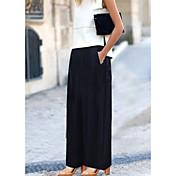 レディース ボヘミアン ストリートファッション ミッドライズ ワイドレッグ 伸縮性 チノパン パンツ ソリッド