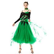 Baile de Salón Vestidos Mujer Actuación Licra Tul 2 Piezas Mangas largas Cintura Alta Vestido Neckwear