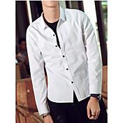 Hombre Simple Casual/Diario Camisa,Escote Cuadrado Un Color Manga Larga Algodón