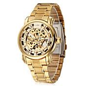 WINNER 男性 リストウォッチ 機械式時計 透かし加工 自動巻き ステンレス バンド ラグジュアリー ゴールド