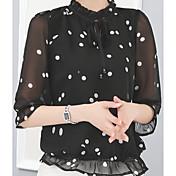 Mujer Simple Casual/Diario Camiseta,Escote Chino Un Color 1/2 Manga Poliéster