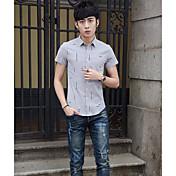 Hombre Simple Casual/Diario Camisa,Cuello Camisero Estampado Manga Corta Algodón