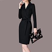 Mujer Corte Bodycon Vestido Casual/Diario TrabajoUn Color Escote en Pico Sobre la rodilla Manga Larga Poliéster Primavera Verano Tiro Alto