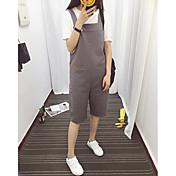 Mujer Sencillo Tiro Alto Microelástico Chinos Pantalones,Corte Ancho Perneras anchas Un Color