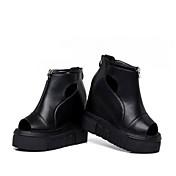 MujerConfort-Sandalias-Informal-Cuero Patentado-Negro