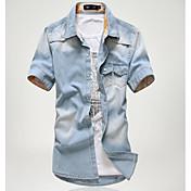 メンズ お出かけ カジュアル/普段着 春 夏 シャツ,シンプル シャツカラー ソリッド その他 半袖 薄手