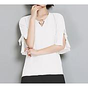 レディース カジュアル/普段着 ブラウス,シンプル Vネック ソリッド コットン 半袖 薄手