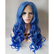Mujer Pelucas sintéticas Encaje Frontal Medio Largo Ondulado Grande Azul Peluca natural Las pelucas del traje