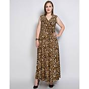 Mujer Corte Ancho Recto Corte Swing Vestido Casual/Diario Fiesta/Cóctel Tallas Grandes Sexy Vintage Simple,Un Color LeopardoEscote en
