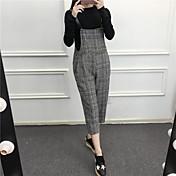 Mujer Sencillo Tiro Alto Eslático Chinos Pantalones,Corte Ancho Un Color