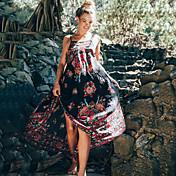 レディース セクシー アジアン・エスニック お出かけ ビーチ スウィング ドレス,フラワー ストラップ マキシ ノースリーブ ポリエステル 夏 ミッドライズ マイクロエラスティック ミディアム