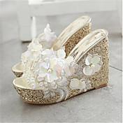 Sandály-PU-Pohodlné-Dámské-Zlatá Bílá Růžová-Běžné