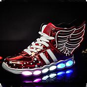 Chico-Tacón Plano-Confort Innovador Light Up Zapatos-Zapatillas de deporte-Exterior Informal Deporte-PU-Dorado Negro Plata Rojo
