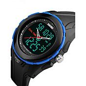 SKMEI 男性 スポーツウォッチ リストウォッチ デジタル LCD カレンダー 耐水 2タイムゾーン アラーム ストップウォッチ ラバー バンド クール ブラック グリーン