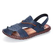 Hombre Zapatillas y flip-flop Anillo Frontal Suelas con luz Semicuero Primavera Verano Informal Marrón Azul Caqui Plano