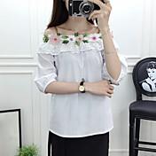 Mujer Simple Casual/Diario Camisa,Escote Barco Bordado 1/2 Manga Algodón