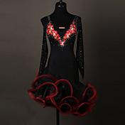 Debemos los vestidos de la danza latina los cristales / los rhinestones del organza del spandex del funcionamiento de las mujeres