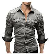 Masculino Camisa Social Escritório/Carreira Diário Casual Simples Moda de Rua Todas as Estações,Sólido 70% Wool30% AlgodãoColarinho de