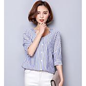 Mujer Simple Casual/Diario Camisa,Escote en Pico Un Color Manga Corta Algodón