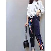レディース カジュアル/普段着 春 シャツ パンツ スーツ,シンプル ラウンドネック プリント 長袖 マイクロエラスティック