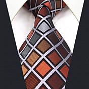 Hombre Todas las Temporadas Vintage Bonito Fiesta Trabajo Casual Seda Corbata,Cuadrícula