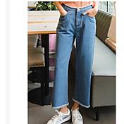 Mujer Tiro Alto Vaqueros Pantalones,Perneras anchas Un Color