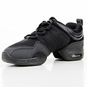 Personalizables Mujer Zapatillas de Baile Malla respirante Sintético Semicuero Zapatillas Entrenamiento Tacón Plano Negro 2'5-4'5cms