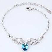 Dámské Náramky s přívěšky imitace drahokamu Módní Slitina Heart Shape Křídla / Peří Šperky Pro Párty 1ks