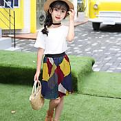 Conjuntos Chica Moda Color Sólido Retazos Manga Corta Verano Conjunto de Ropa