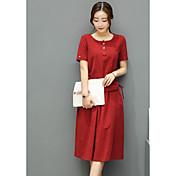 Mujer Sencillo Casual/Diario Verano T-Shirt Falda Trajes,Escote Redondo Un Color Manga Corta Microelástico