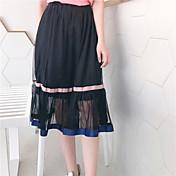Mujer Sencillo Casual/Diario Maxi Faldas Color puro Verano Un Color