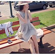 レディース セクシー ヴィンテージ キュート カジュアル/普段着 ビーチ お出かけ Aライン ルーズ シース ドレス,ソリッド ラウンドネック 膝上 ノースリーブ シルク コットン リネン 春 夏 ハイライズ マイクロエラスティック 薄手
