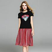 Mujer Moderno Casual/Diario Fiesta de oficina Verano T-Shirt Falda Trajes,Escote Redondo Personajes Manga Corta Estilo moderno strenchy