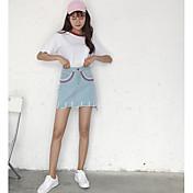Mujer Casual/Diario Sobre la Rodilla Faldas,Línea A Verano Un Color Geométrico