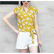 Mujer Sencillo Casual/Diario Verano Blusa Pantalón Trajes,Escote Chino Estampado Manga Corta