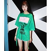 Mujer Vintage Chic de Calle Casual/Diario Camiseta,Escote Redondo Estampado Letra 1/2 Manga Algodón
