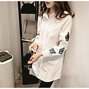 レディース カジュアル/普段着 シャツ,シンプル スクエアネック ソリッド 刺しゅう コットン 長袖